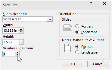 shows the slide size dialog in PowerPoint