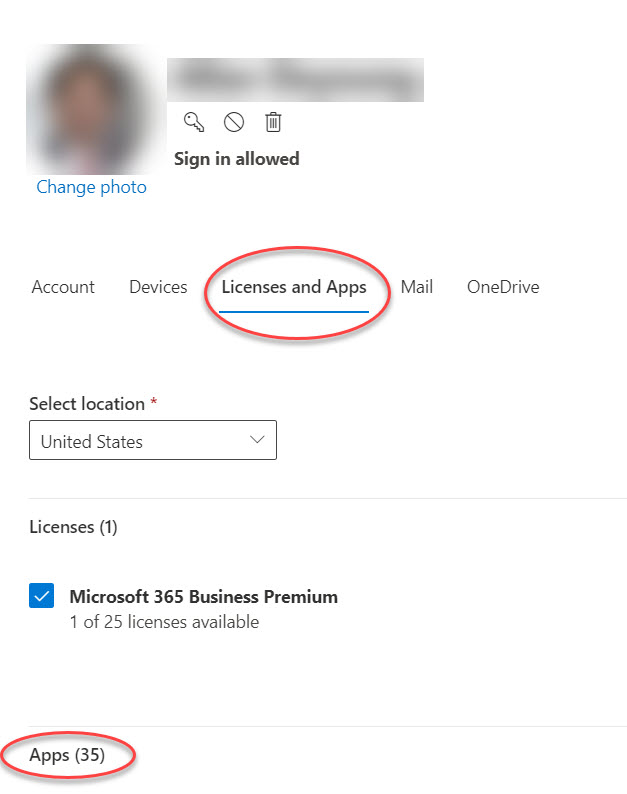Account Options form in Microsoft 365 Admin Center
