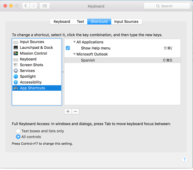 Outlook 2016 for Mac Keyboard Shortcuts settings dialog box