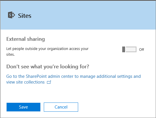 "Screenshot of the External Sharing dialog box when the ""Let people outside your organization access your sites"" setting is turned off."
