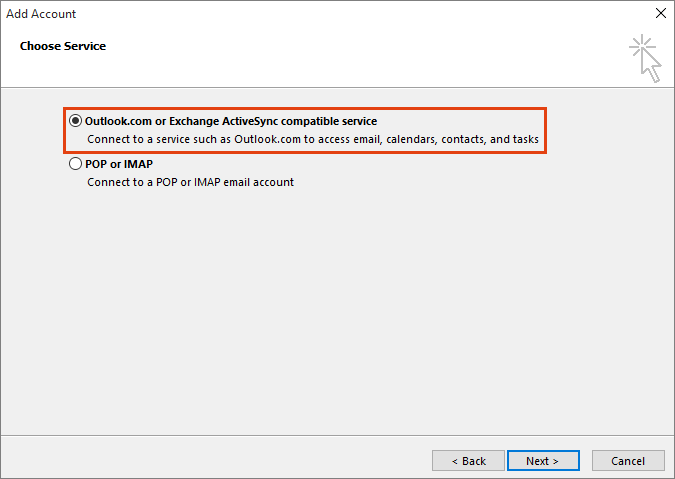 Outlook Add Account Choose Service, Outlook.com or Exchange ActiveSync compatible service option
