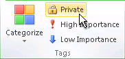 Private command in the Tags group on the ribbon