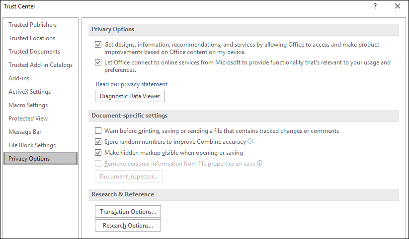 View my privacy options in the Microsoft Office Trust Center
