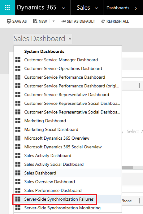 Server-Side Synchronization Failures Dashboard selection