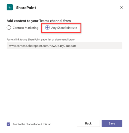 Select Any SharePoint site radio button to paste a link form a different site.