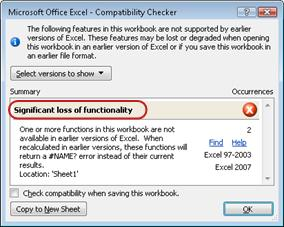 Compatibility Checker dialog box