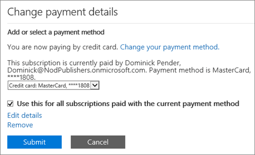 The Change payment details pane for a subscription that is currently paid by credit card, but is eligible to change to invoice.