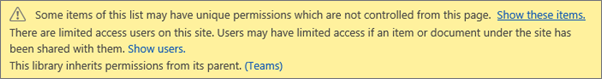 Image showing message for unique permissions for a list or library