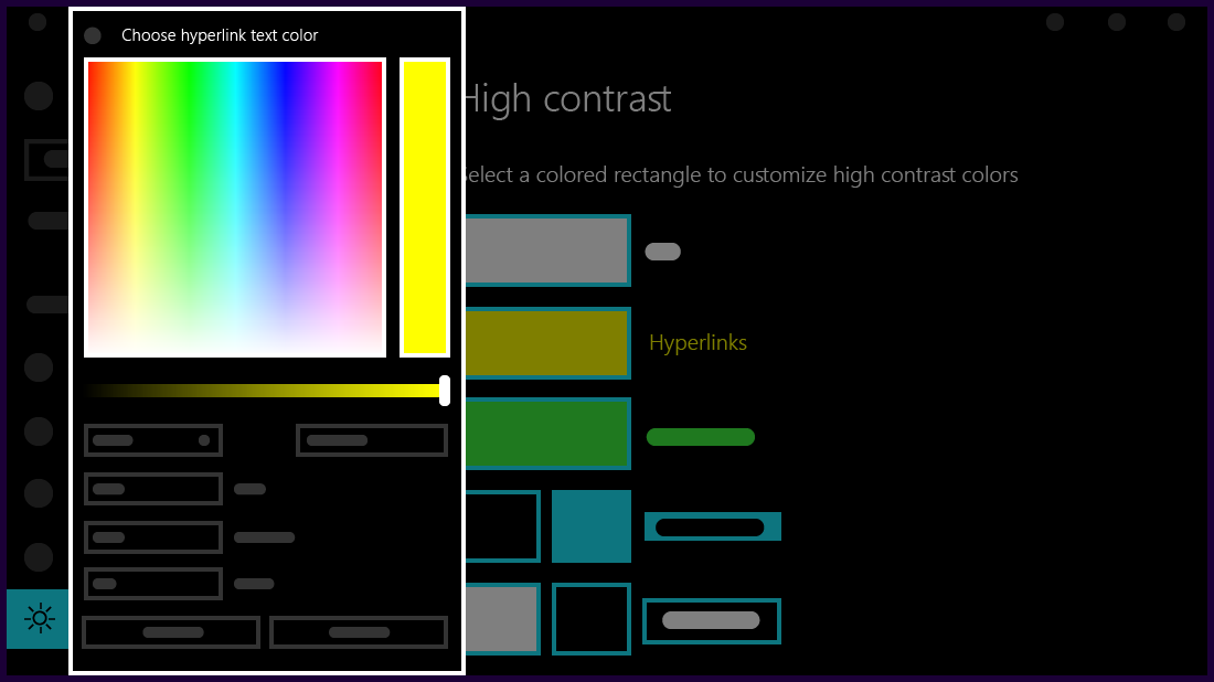 Customize colors for your high contrast theme.