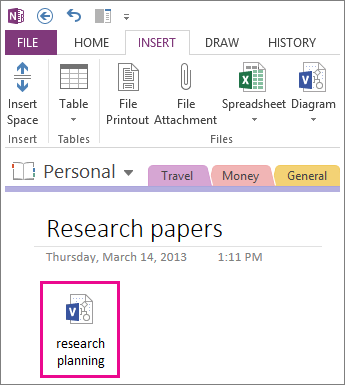 Insert a Visio file icon onto a page