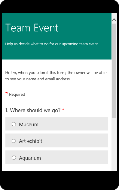 Preview mobile mode for a class survey form