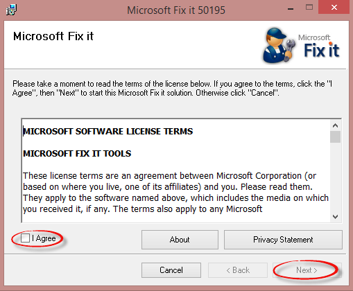 Microsoft Fix it agreement box