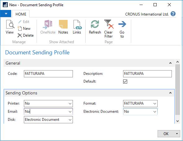 The screenshot of Document Sending Profile