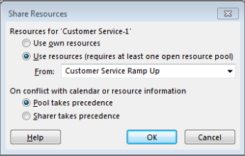 the sahare resources dialog box options