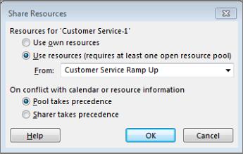 the sahare resources dialog box options