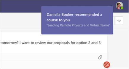 Users receive a Teams notification when learning is recommended to them