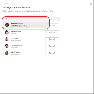 Add person to status notifications