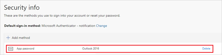 Security info page, with new app password shown in list