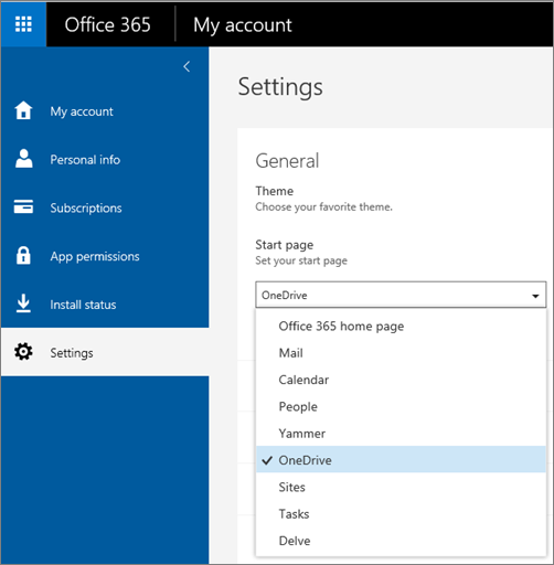 Change Office 365 start page