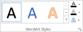 The WordArt Styles group