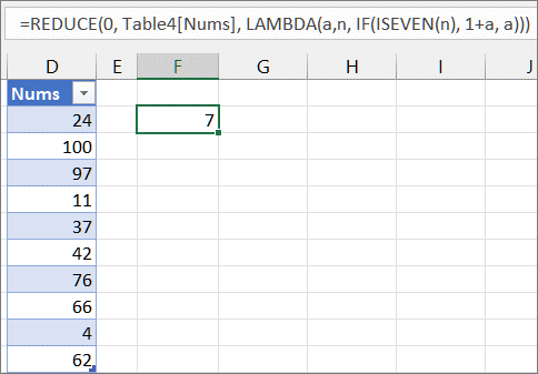 Third REDUCE function example