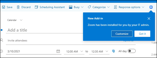 Information nudge for add-in displayed while composing appointment