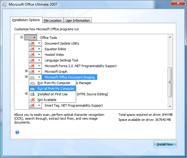Screenshot displaying the location of MODI during the 2007 Office system installation: