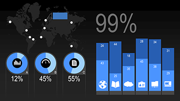 Chart types in a PowerPoint animated infographics statistics template