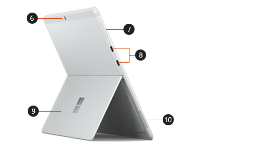 Picture the back of a Surface Pro X that identifies the location of different buttons.