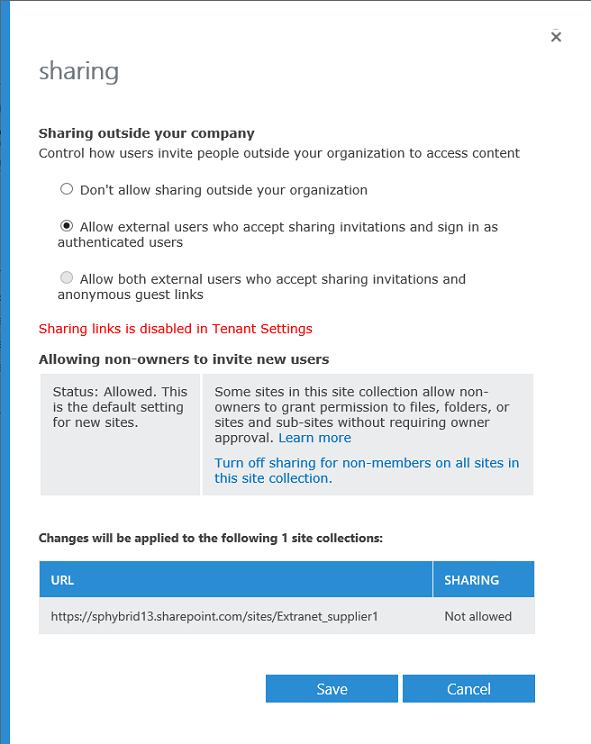 Set your external sharing limits for your extranet