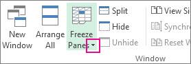Freeze Panes arrow