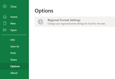 Regional Format Settings button on the File > Options menu