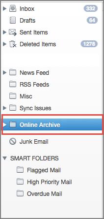 Online archive folder