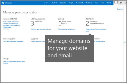 Manage domains for your website and email