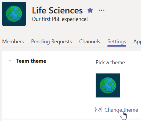From the Settings tab, select Change team from the Team theme drop down.