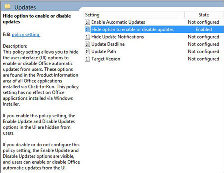 Group Policy settings updates