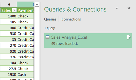 Power Query Queries and Connections pane