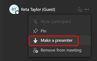 Select Make a presenter