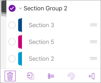 Delete section group in OneNote for iOS