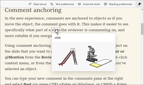 Picture dictionary in Immersive Reader