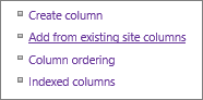 Closeup of Add existing column link in Settings page