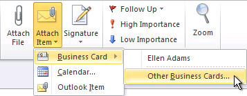 Create and share contacts as electronic business cards outlook attach other business cards command on the ribbon reheart