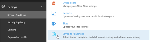 In the Office 365 admin center, choose Skype for Business.