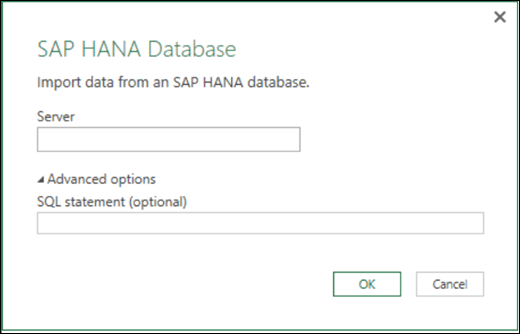 Excel Power BI SAP HANA Database import dialog