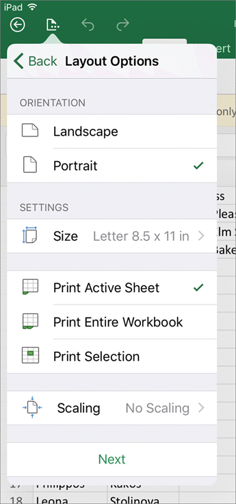 The print settings dialog in Excel for iOS lets you configure how your worksheet will print.
