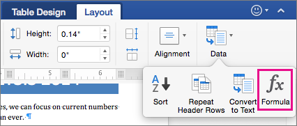 On the Layout tab, click Data to view the menu and click Formula.