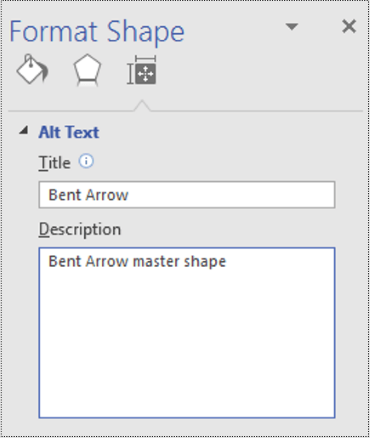 Alt text dialog for a master shape in Visio.