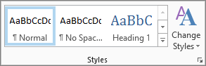 The styles group in the format text ribbon