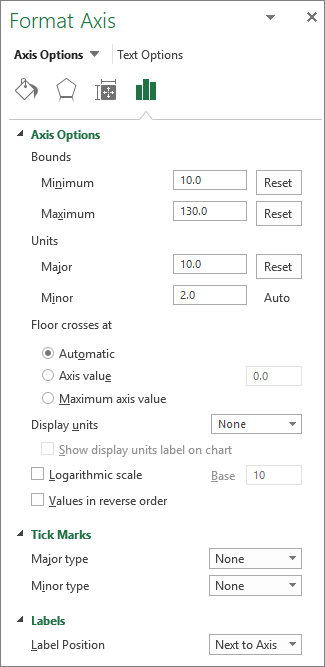 Format axis options panel