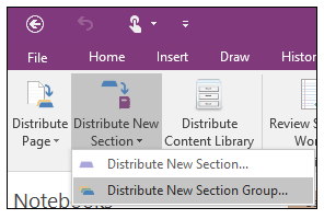 Screenshot of how to distribute a new section group in the Class Notebook Creator add-in.
